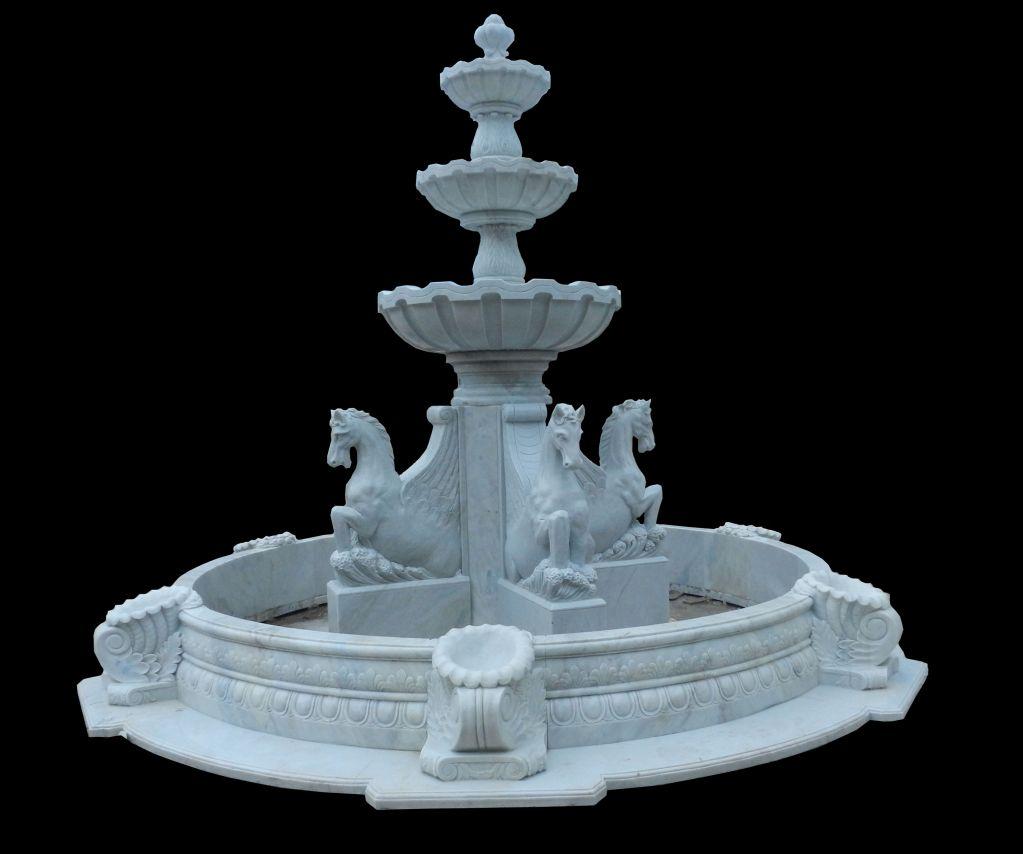 Carved stone horse sculpture garden fountain outdoor water fountain