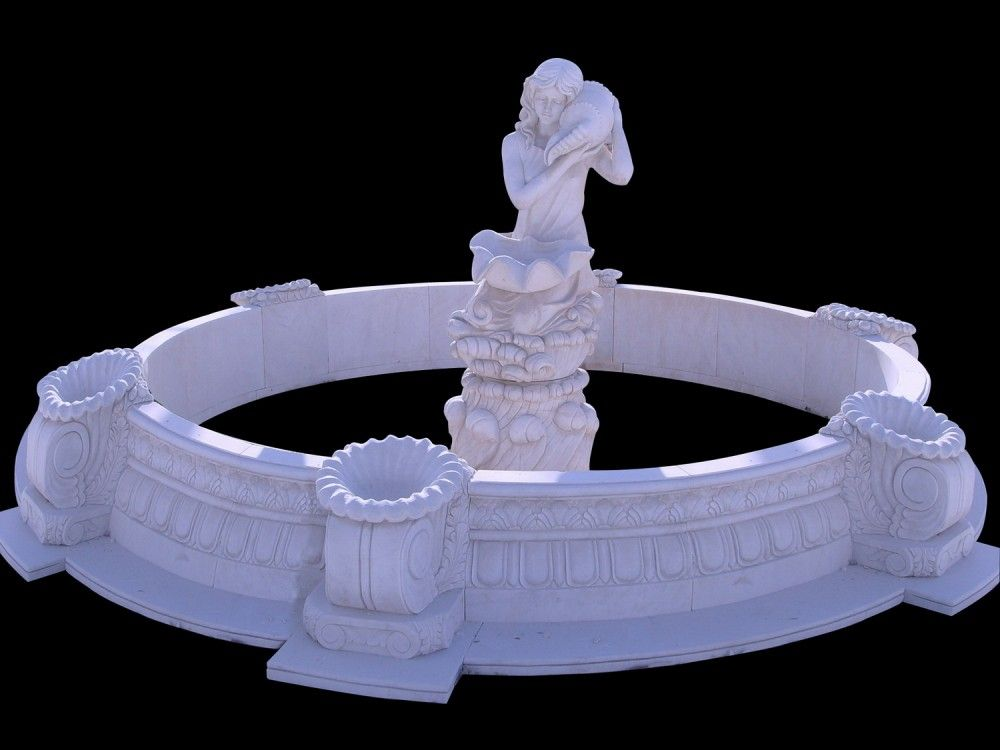 Hand carved garden stone water fountain with stone statue decoration