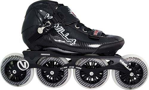 Black Vanilla Carbon Inline Speed Skates - 3x100 , 4 X 100mm Wheels Size 1-13