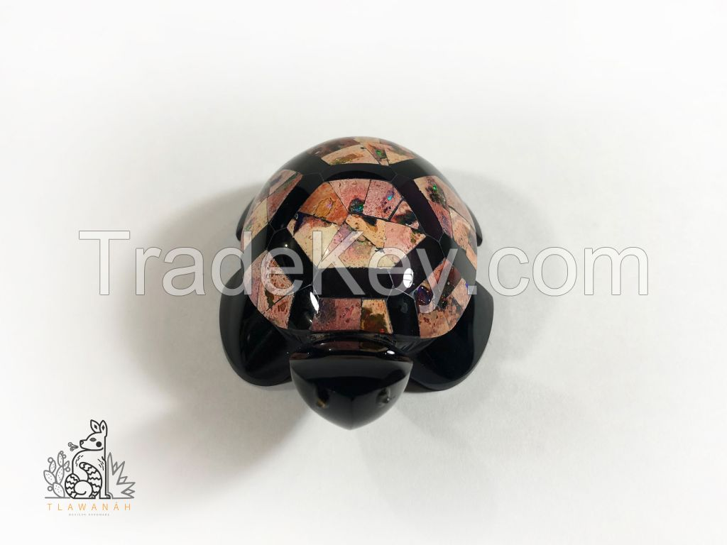 Obsidian turtle with opal inlaid