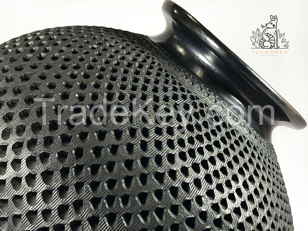 Black clay vase, Black pottery decorative vase