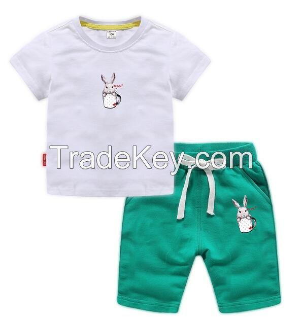 New Design Summer Embroidered T-Shirt Set Children Clothing