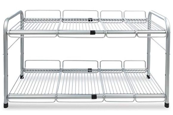 2 Tiers Expandable Under Sink Rack Kitchen Organizer