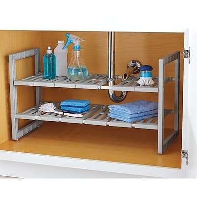 2 Tiers Expandable Under Sink Rack Kitchen Organizer