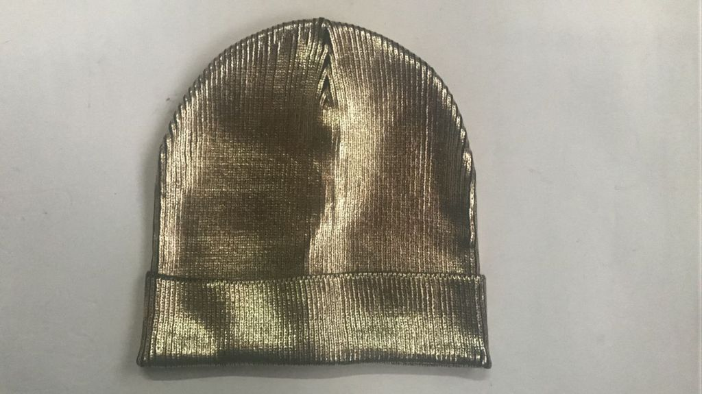 Hot Selling Ladies Hot Stamping Gold Foil Beanie Knitted Hat with Folding Trim