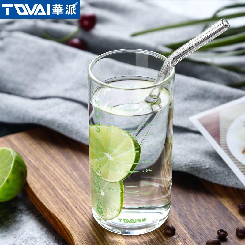 Tqvai Scale Straight Glass Cup Borosilicate Glass 10 Oz Beverage Glass