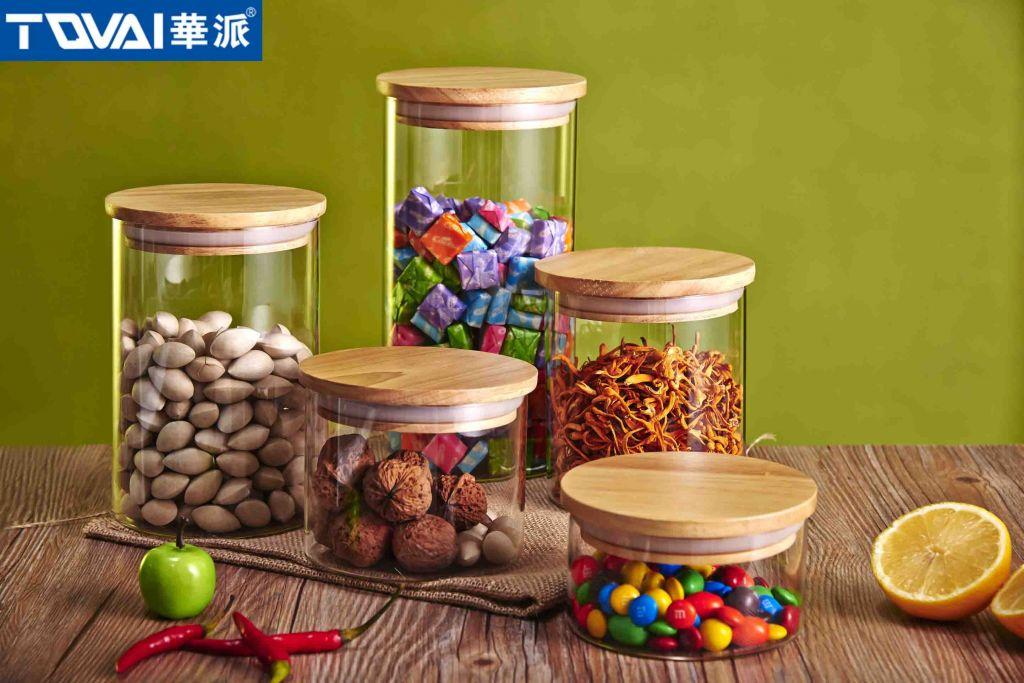 Tqvai Kitchen Airtight Glass Candy Jar Bottle Storage Jar with Airtight Lid Oaken Wood Lid