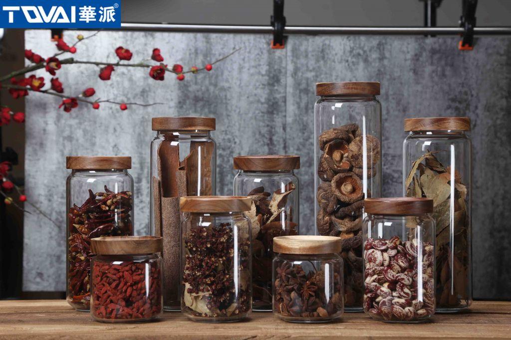 Tqvai Popular Glass Storage Jar with Acacia Lid Air Tight Glass Tank