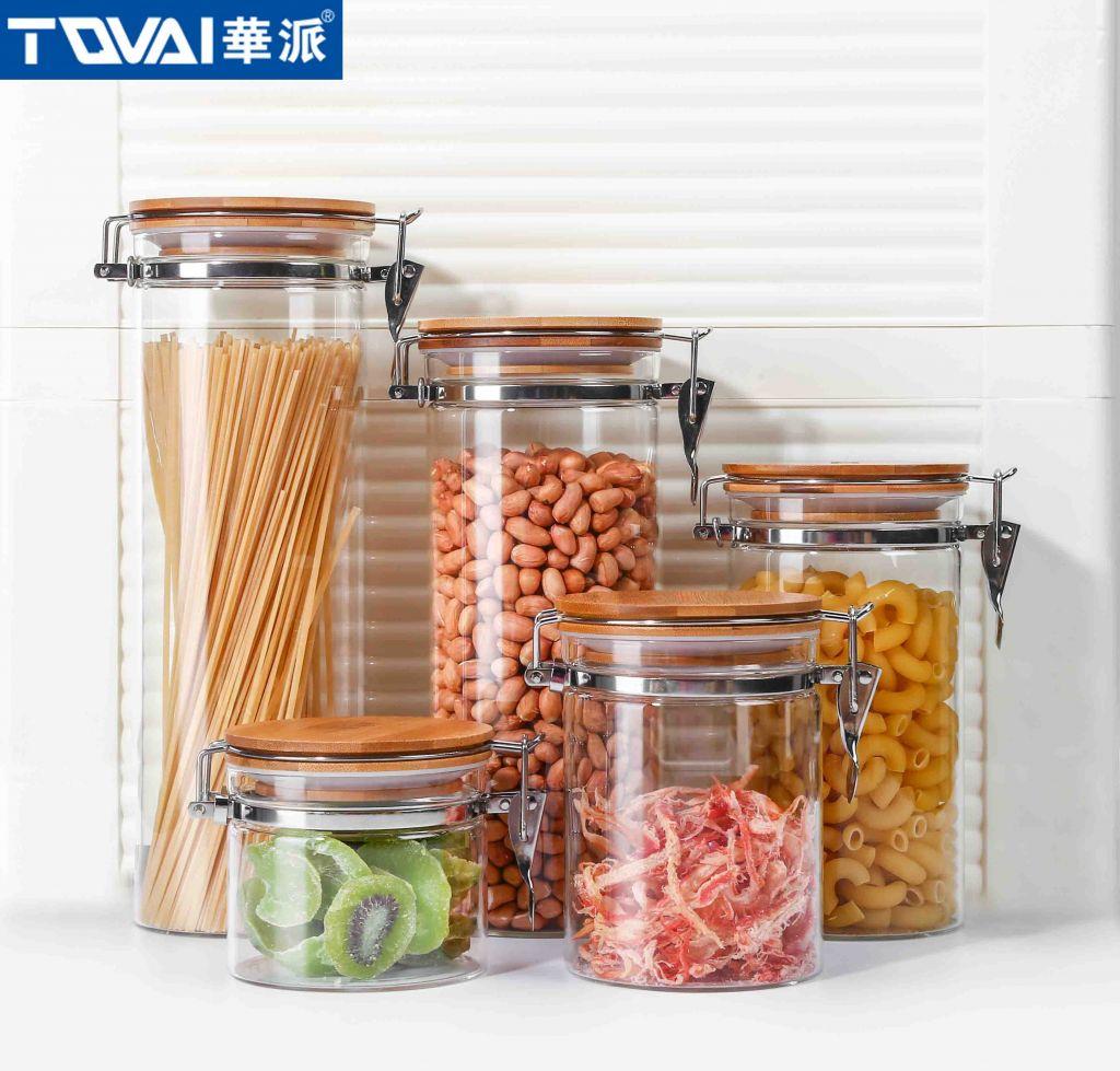 Tqvai Borosilicate Glass Jar Storage Jar with Metal Clip