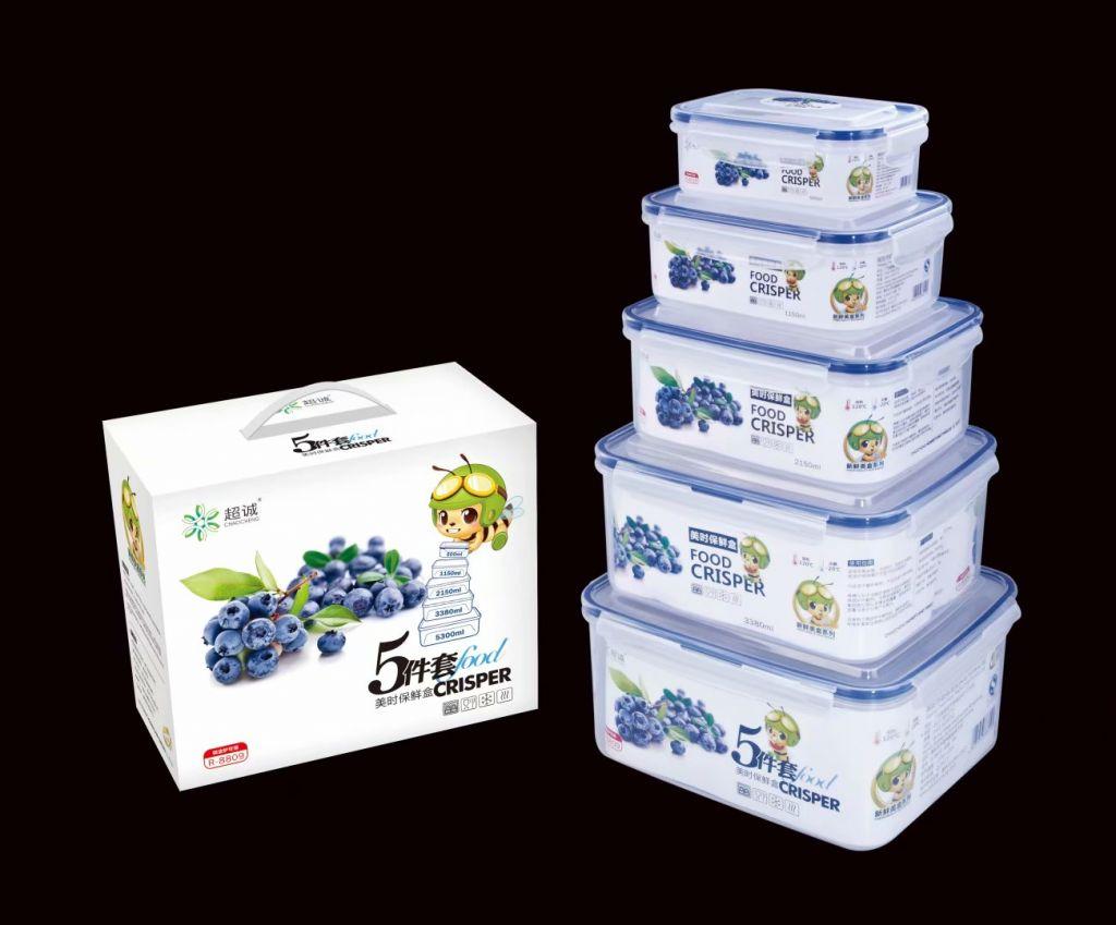 PP plastic food grade 4pcs set rectangular airtight food crisper R-8809