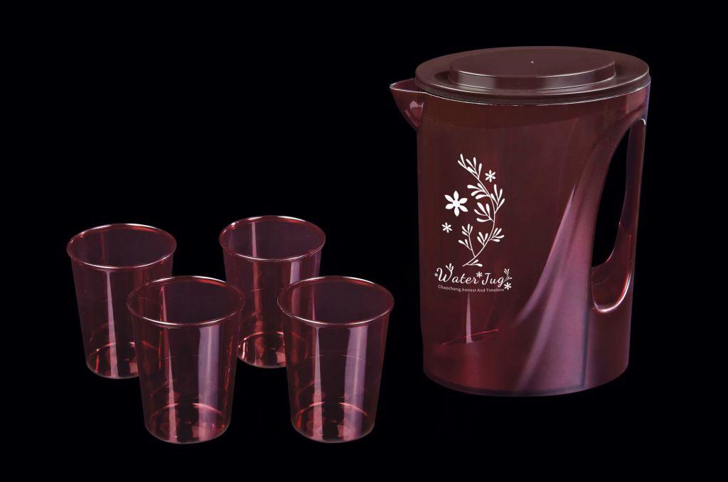 food safe PS plastic water jug set with 4 cups R-5208 juice bottle