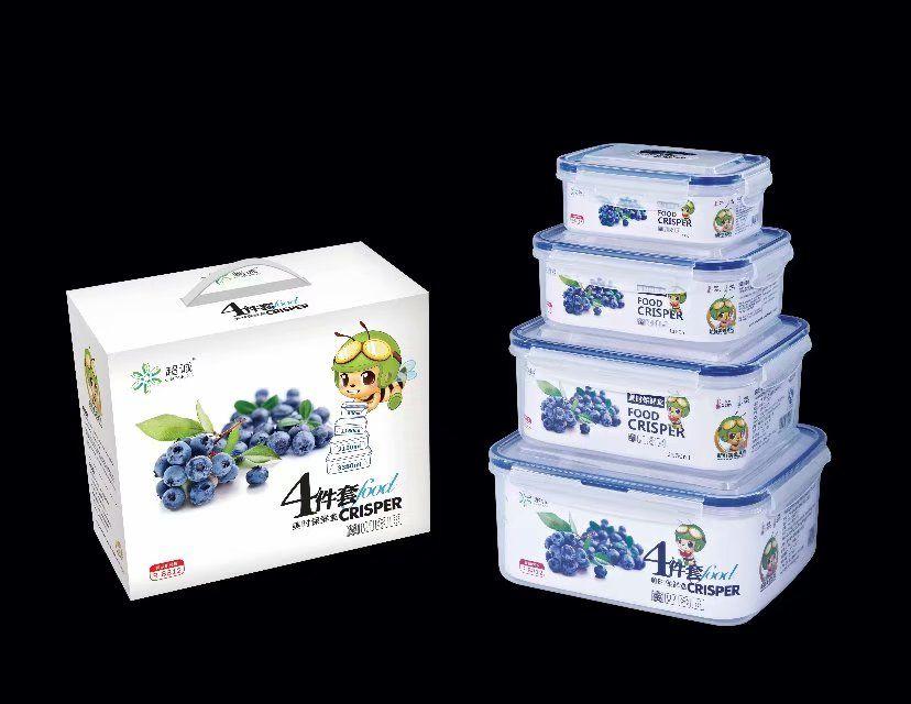 PP plastic food grade 4pcs set rectangular airtight food crisper R-8812