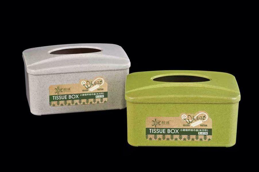 pp plastic and wheat rectangular tissue box