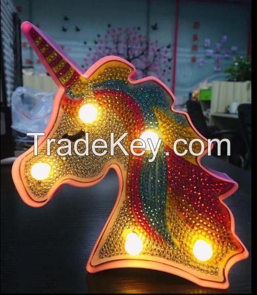 led unicorn diamond painting night lamp