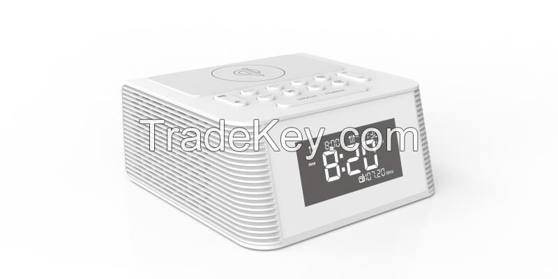 Bluetooth speaker with digital alarm clock ,wireless charger and radio