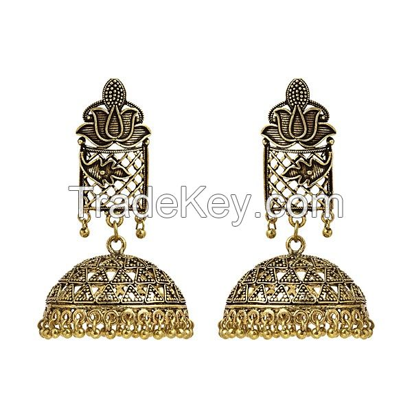 Lotus And Net Designed Gold Plated Ethnic Jhumki/Jhumka Earrings For Women