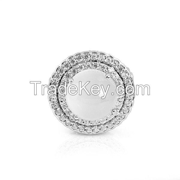 Opal Quartz Silver Halo Ring For Women