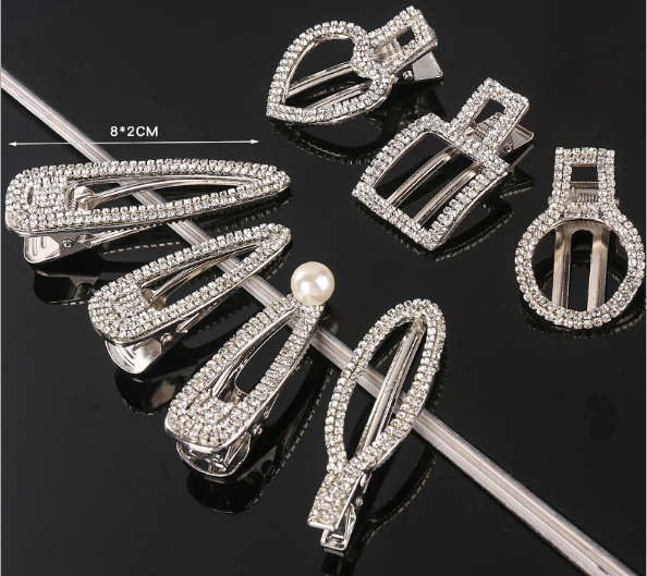 word rhinestone hairpin bling diamond hair clips