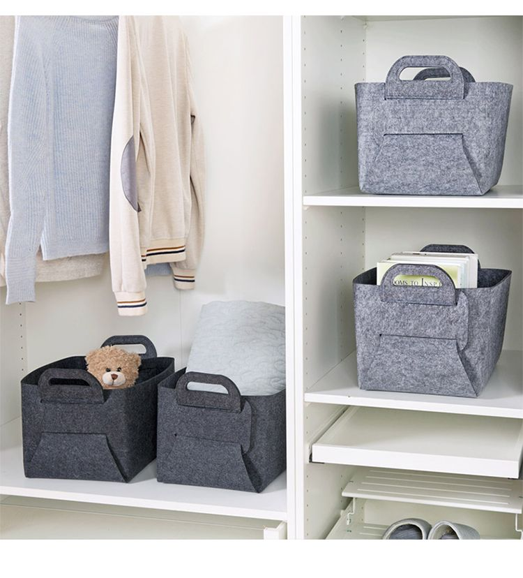 Collapsible Storage Basket Bins Foldable Handmade Rectangular Felt Fabric Storage Box Cubes Containers with Handles