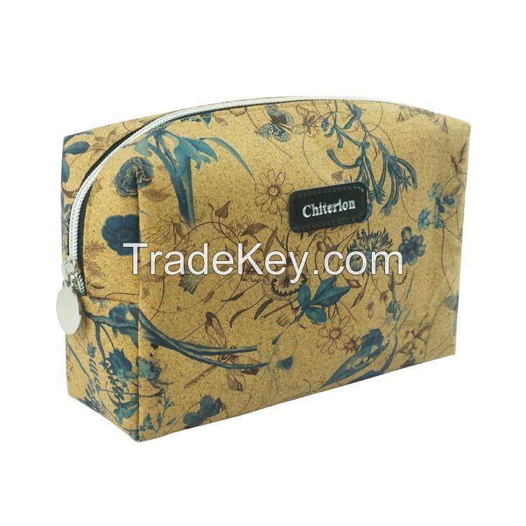 Eco Friendly Natural Cork Softwood Zipper Pouch Handbag