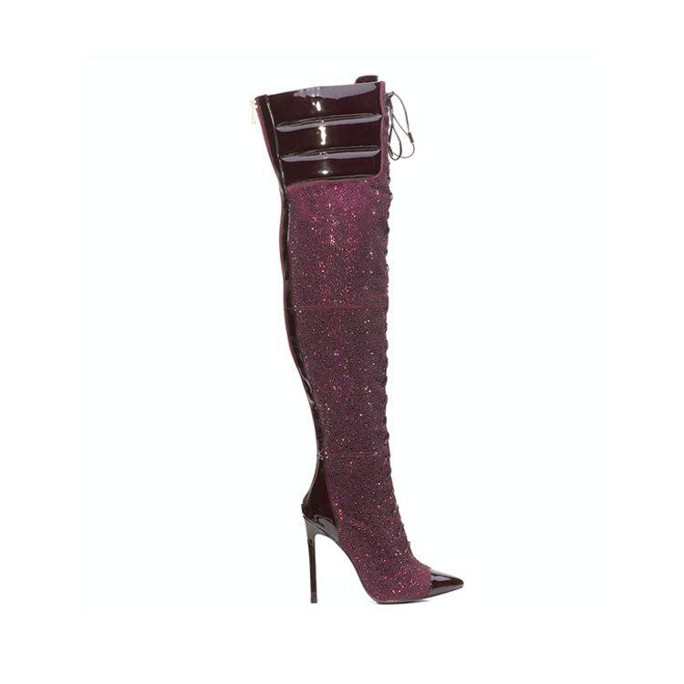 Bling rhinestones high heel knee long women fashion boots