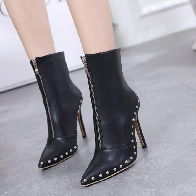 winter women high heel shoes rivet leather boots