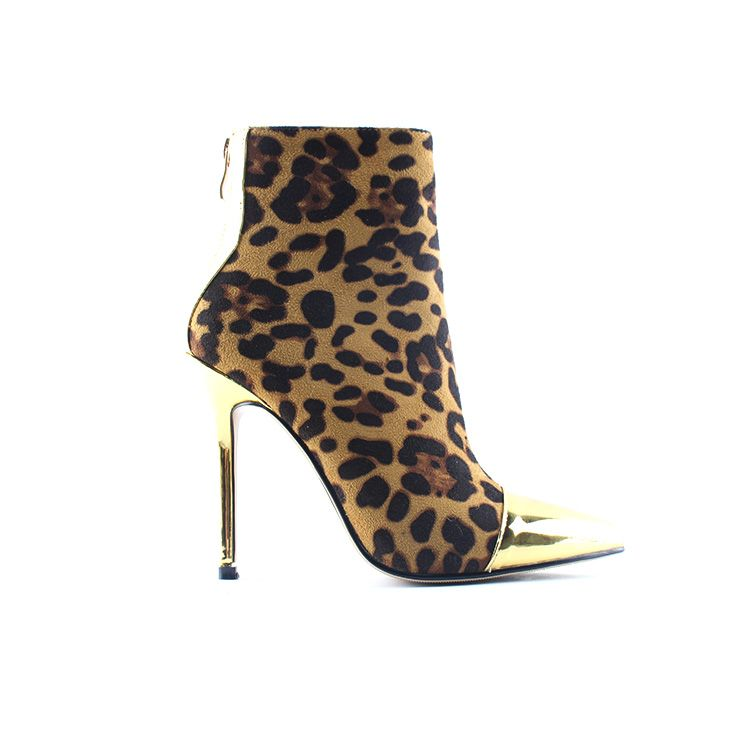 Sexy Lady Animal Print Pointy Toe Ankle Boots 12 cm Stiletto High Heel Booties Women Shoes Big Size