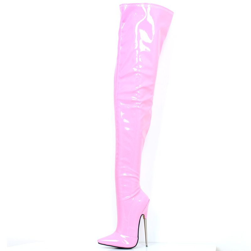 Womens 7 Extreme High Metal Heel Stiletto Pointed-Toe Zipper Hard Shaft Customized Thigh Crotch High Boots