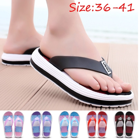 Women Beach Outdoor Casual Flip Flops Summer Home Non-slip Comfort Slippers Size 36-41