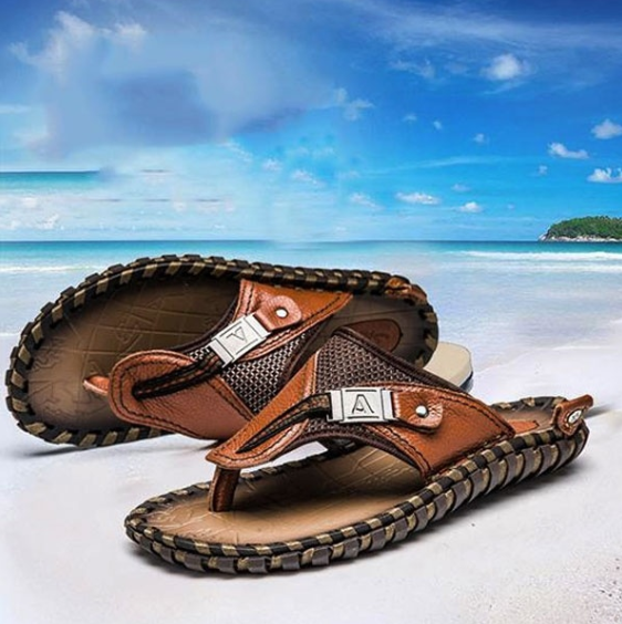 2019 Summer Plus Size Hand-made Genuine Leather Men Slippers Beach Flip Flops Shoes