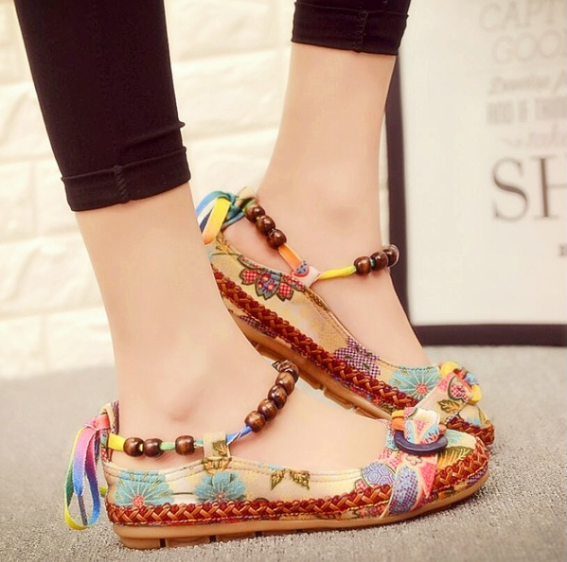 Women Cotton Lace Up Beading Round Toe Comfortable Flats Colorful Loafers Shoes