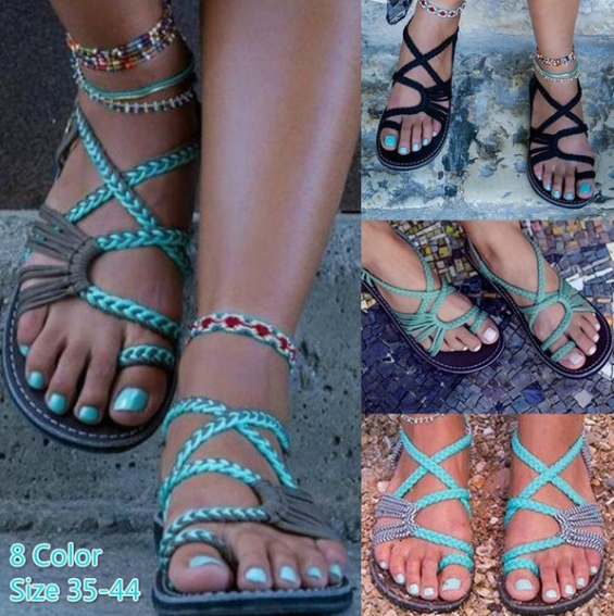 Women New Fashion Bohemia Beach Flip Flops Sandals Casual Flats Ladies Outdoor Open Toe Flat Sandals Plus Size