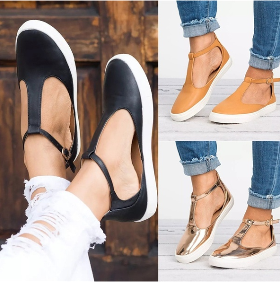 Fashion Women Flats Loafers Cutout Casual Leather Shoes T-Strap Sneakers Summer Comfortable Slip on Shoes Plus Size