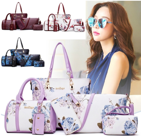 Buy One Get Five Free New Arrive Chinese Style Fashion Handbag Flower Pattern Tote Bag Beautiful Lady Boston Bag Pretty Ink Printing Shoulder Bag