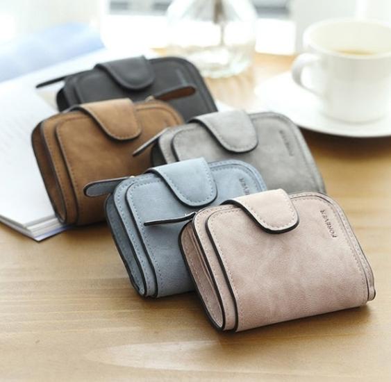 Vintage Matte Leather Wallets for Women Short Zipper Roomy Clutch Purse Card Holder Wallet