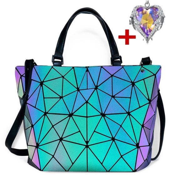 Geometric Luminous Neat Purses and Handbags Shard Lattice Eye-catching Leather Rainbow Holographic Purse