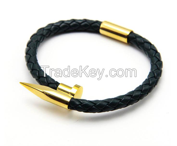 Nail Leather Bracelet