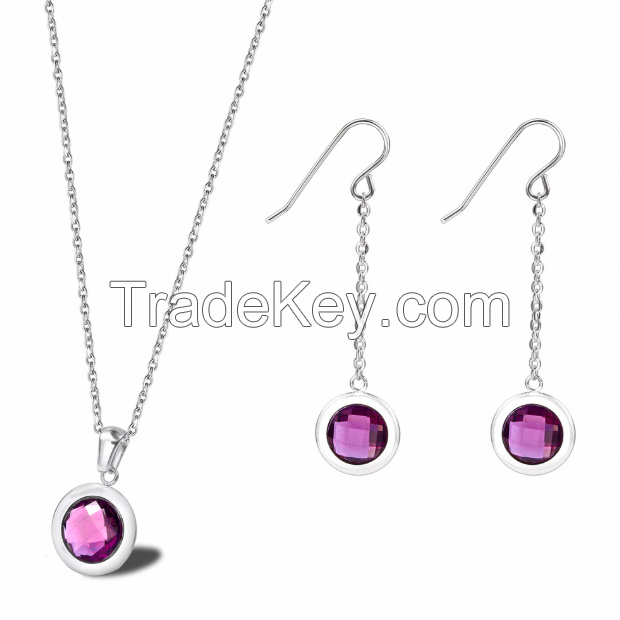 Jewelry Set Gemstone Necklace Earrings-15