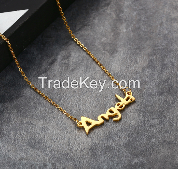 Stainless Steel Angel Letter Necklace
