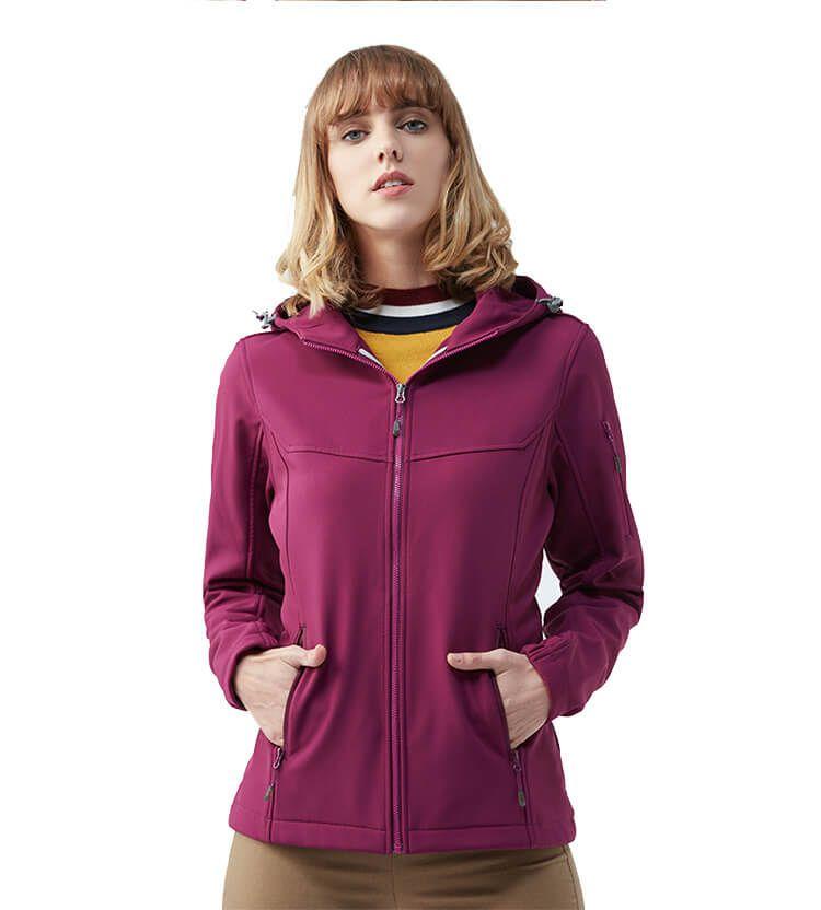 Wholesale Women Clothes Sport Waterproof Hooded Softshell Jacket