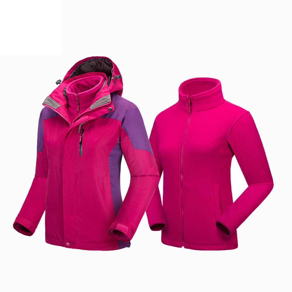 Windproof Waterproof Coat Women 2 in 1 Jacket Separate Fleece Liner Inside