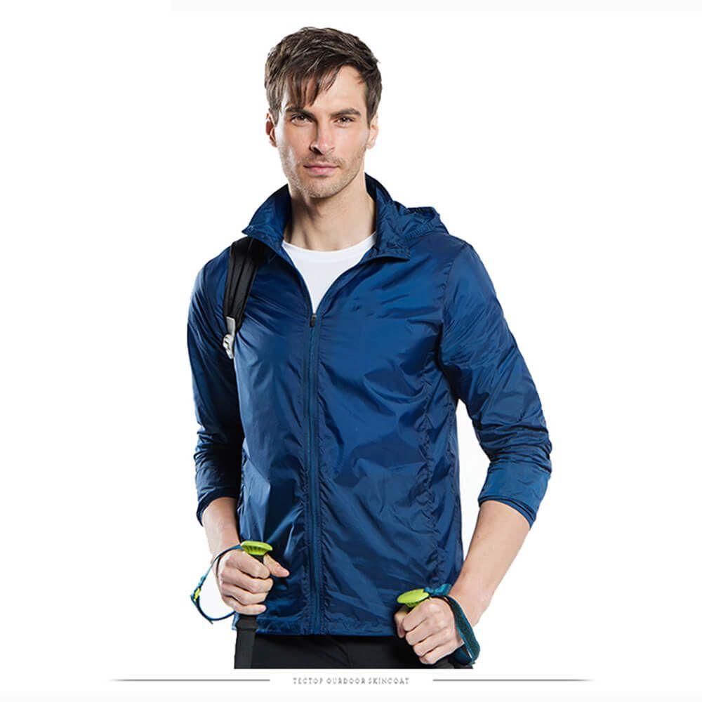Extreme Light Mens Waterproof Sunproof Nylon Outdoor Transparent Hooded Jacket