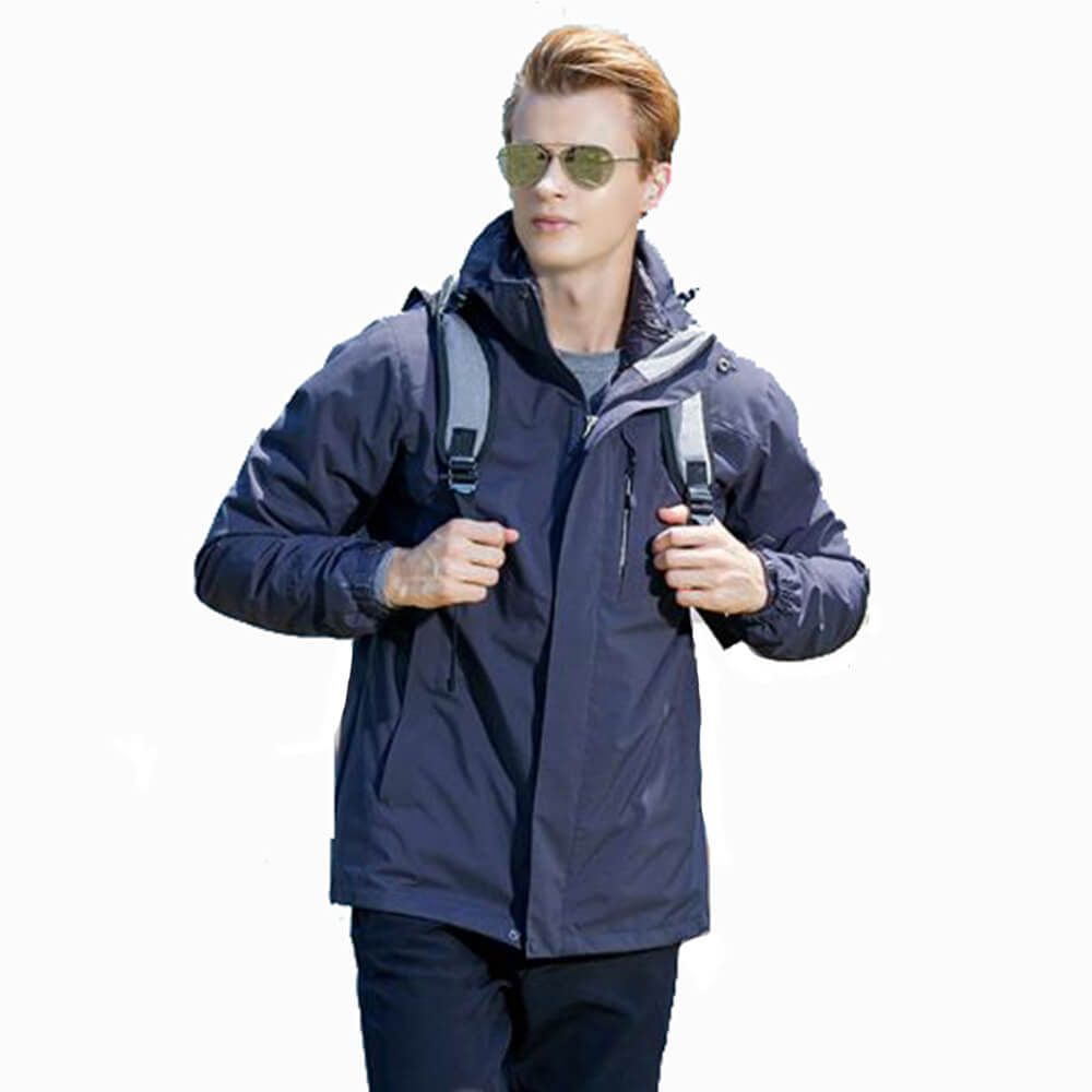 Men Plain Polyester 3M Cotton Lining Thick Waterproof Outdoor Jacket