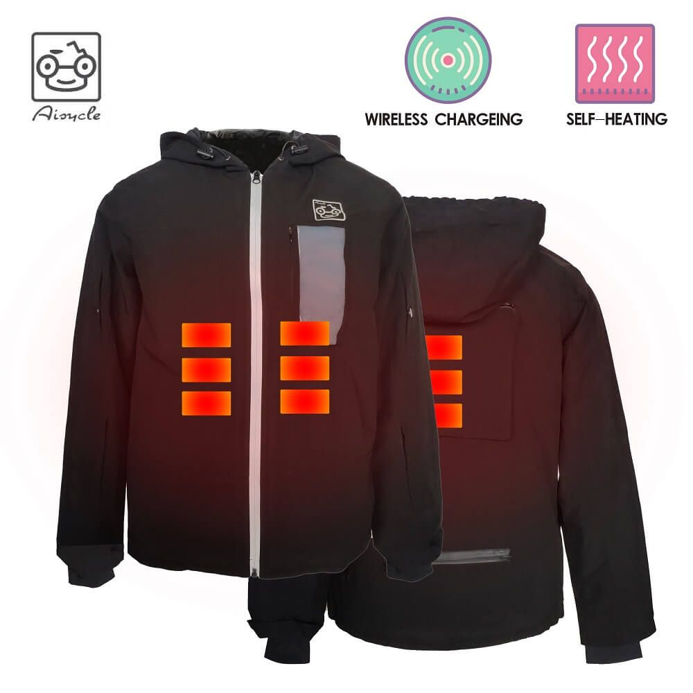 Battery Powered Heated Jacket, 3 in 1 Bomber Jacket With Wireless Charging Pad