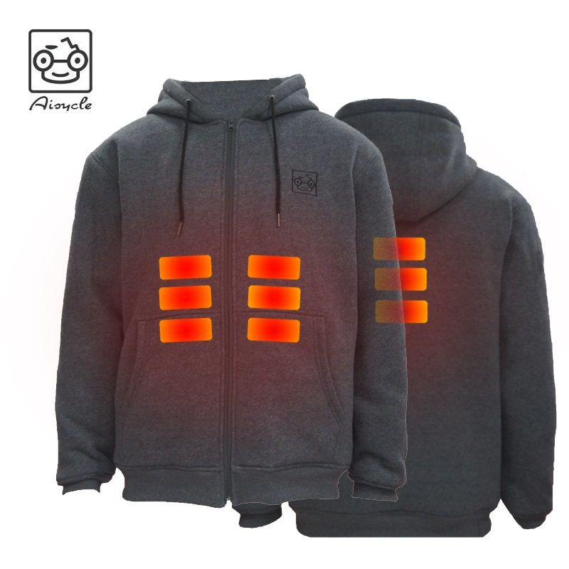 Winter 5V USB Battery Powered Heated Fleece Hoodie Jacket