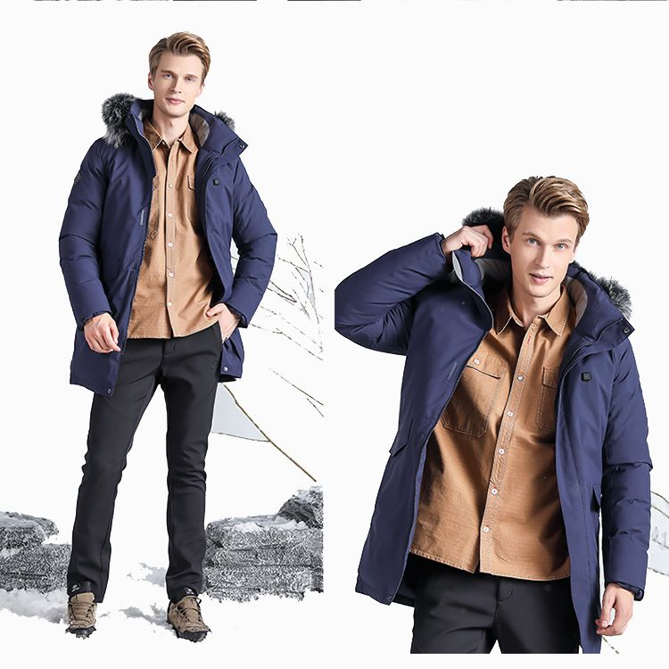 Mens Battery Heated Warm Windproof Duck Down Padded Jacket for Winter