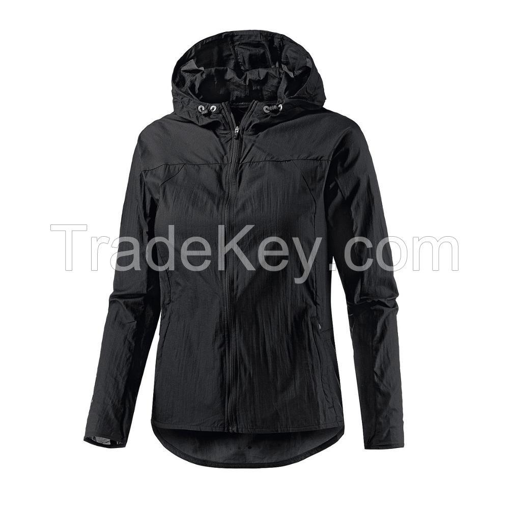 Wholesale Wind Breaker Female Jacket 100% Polyester Cuastom Black Wome