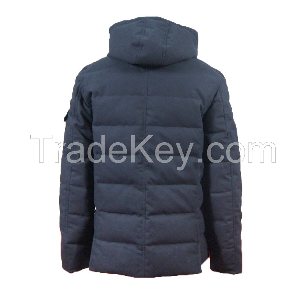 Mens Battery Heated Down Jacket, Woolen Flannel Jacket With Duck Down Inside