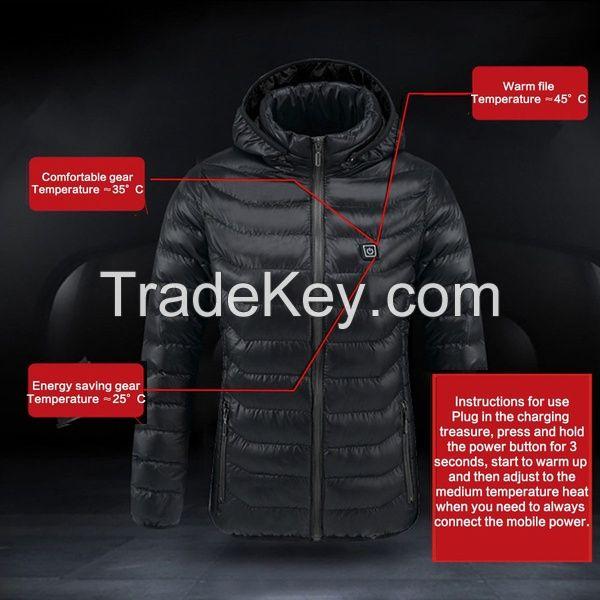Digital Heating Hooded Work Jacket Motorcycle Riding Skiing Snow Coats Women Winter Warm Jacket
