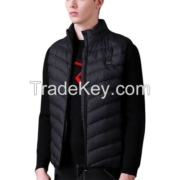 New Winter Intelligent Electric Battery Heated Heating Vest Warm Up Zipper Sleeveless Jacket Wind Resistant Vests